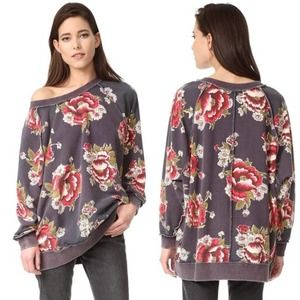 Free People Go On Get Floral Oversized Sweater Small
